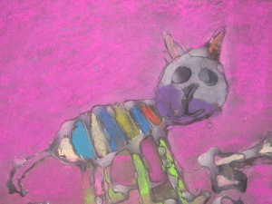 Glue drawng wth soft pastels by Mary Gallegos, age 5