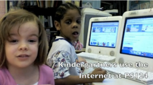 Kindergarteners use the Internet at PS 124
