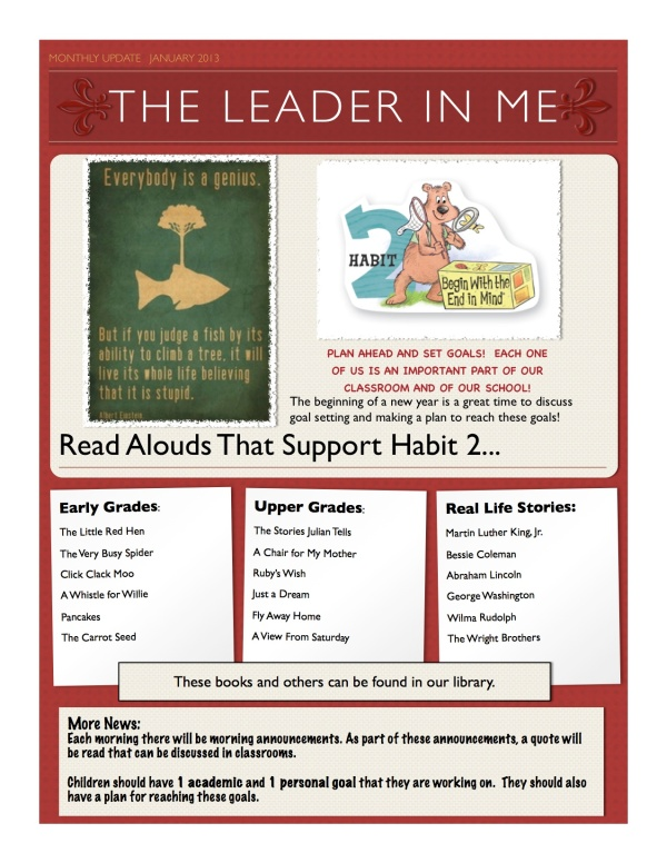 The Leader in Me...This month's habit...